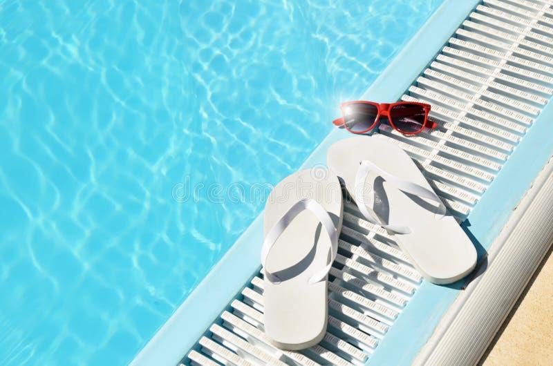 Hot sun summer concept at pool royalty free stock image