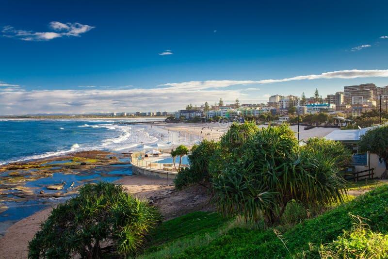 Hot sunny day at Kings Beach Calundra, Queensland, Australia. Hot sunny day at sandy Kings Beach Calundra, Queensland, Australia stock photography