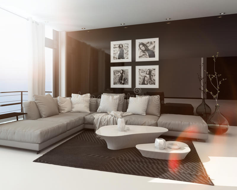 Hot sunny modern sitting room interior. With sun flare through a large floor-to-ceiling window, art on the dark accent wall and a comfortable lounge suite vector illustration