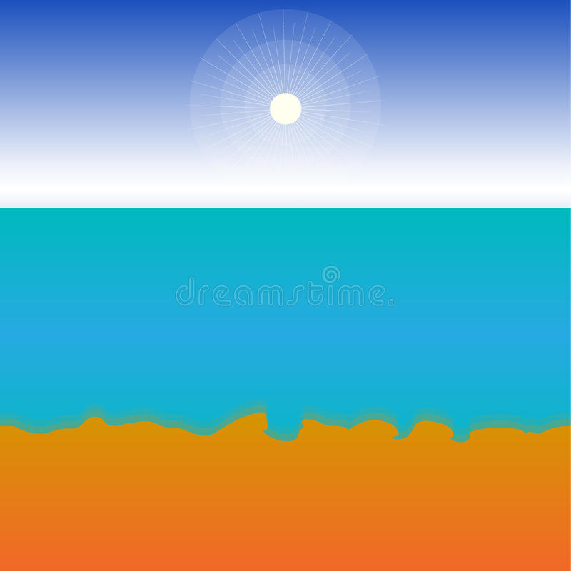 A hot, sunny summer day by the sea. For the background with space for text. Template. Vector. A hot, sunny summer day by the sea. For the background with space royalty free illustration