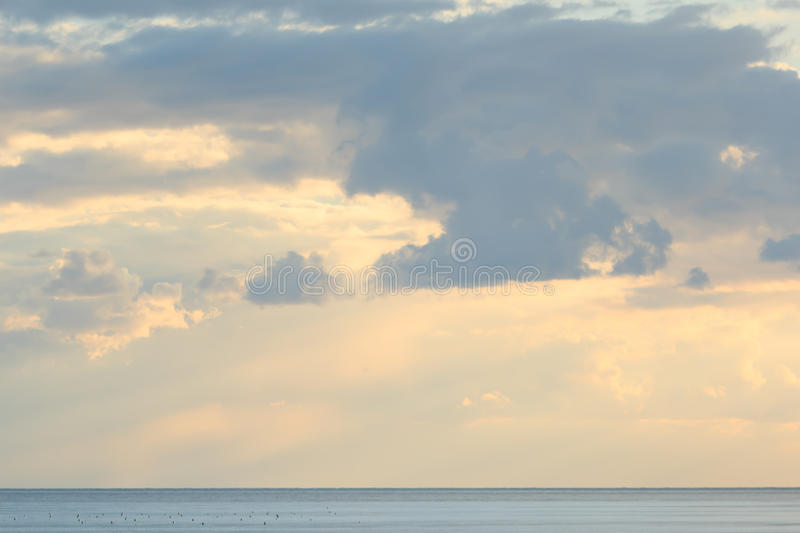 Hot sunset over Black sea. Crimea. stock photo