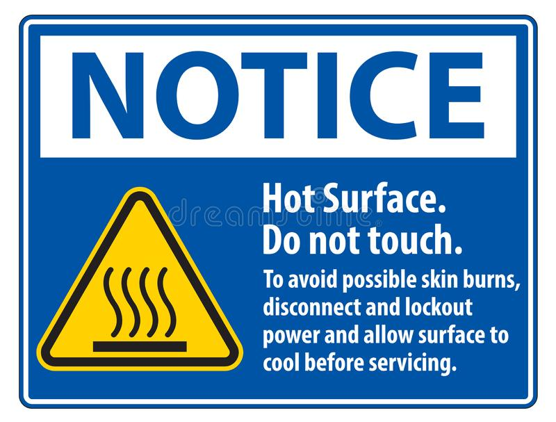 Hot Surface, Do Not Touch, To Avoid Possible Skin Burns, Disconnect And Lockout Power And Allow Surface To Cool Before Servicing vector illustration