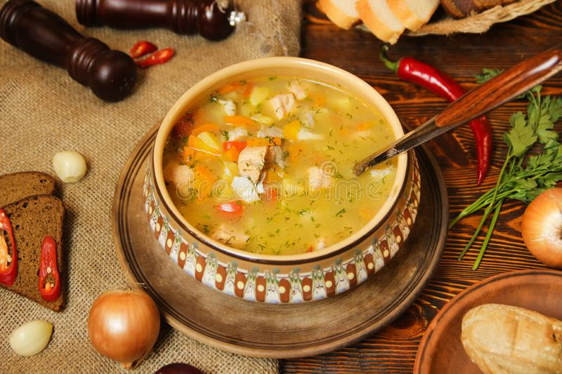 Hot tasty soup for lunch royalty free stock photography
