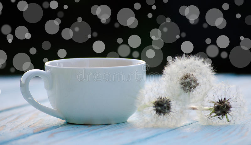 Hot tea with a bouquet of dandelions stock photos