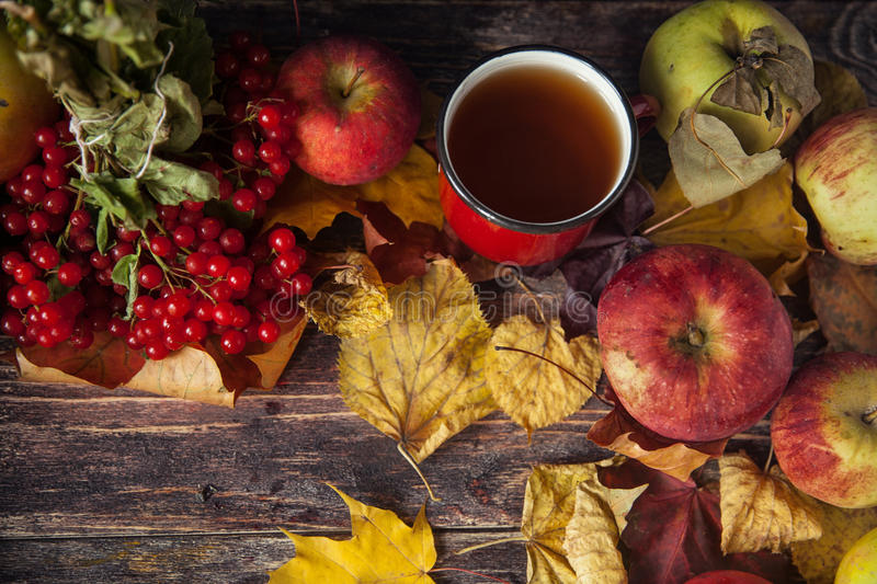 Hot tea cup on an autumn day. Table background with leaves and a stock photography