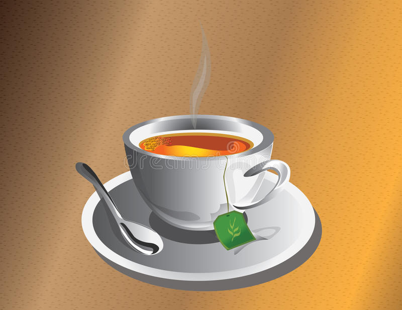 Hot Tea cup with silver spoon. Vector royalty free illustration