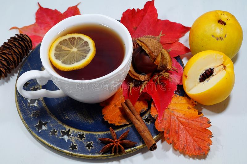 Hot tea with lemon in autumn and winter evenings - an alternative to antibiotics - selective focus. Hot tea with lemon in autumn and winter evenings - an stock image