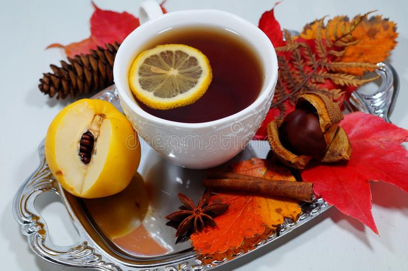 Hot tea with lemon in autumn and winter evenings - an alternative to antibiotics - selective focus. Hot tea with lemon in autumn and winter evenings - an royalty free stock photo