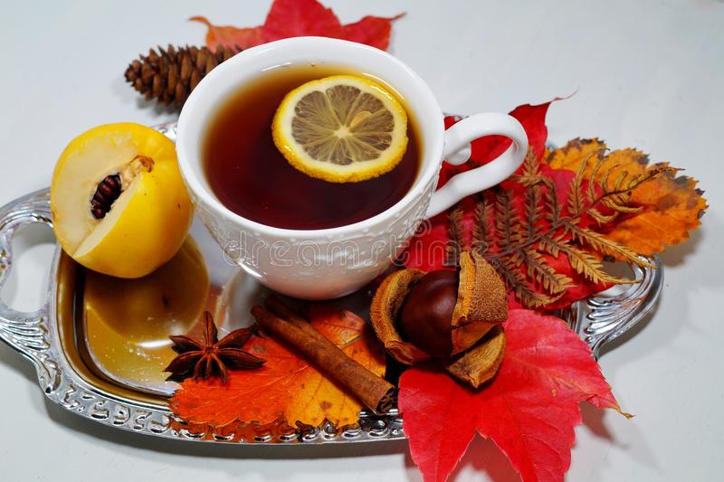 Hot tea with lemon in autumn and winter evenings - an alternative to antibiotics - selective focus. Hot tea with lemon in autumn and winter evenings - an stock photography