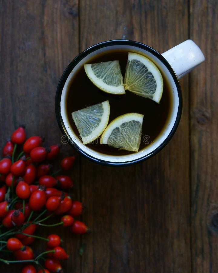 Hot tea with lemon royalty free stock image