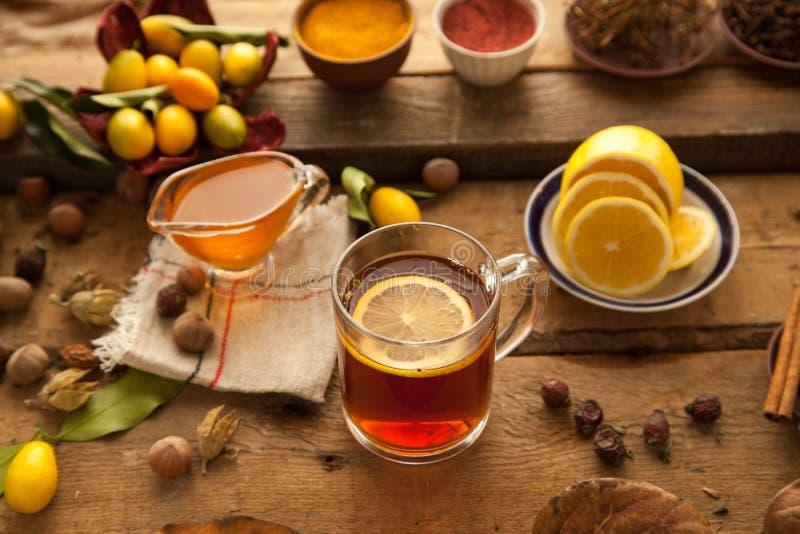 Hot tea with lemon and honey. stock image