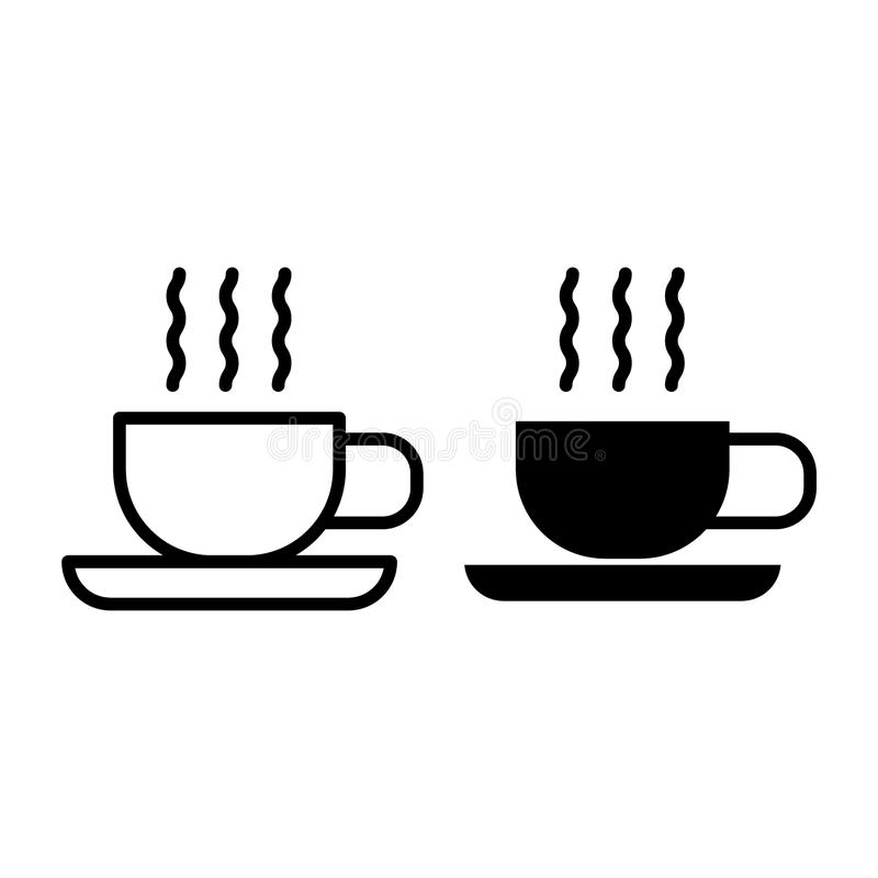 Hot tea line and glyph icon. Cup of tea on saucer vector illustration isolated on white. Mug of coffee outline style. Design, designed for web and app. Eps 10 royalty free illustration
