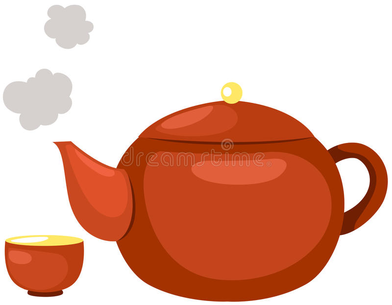 Hot tea pot royalty free illustration