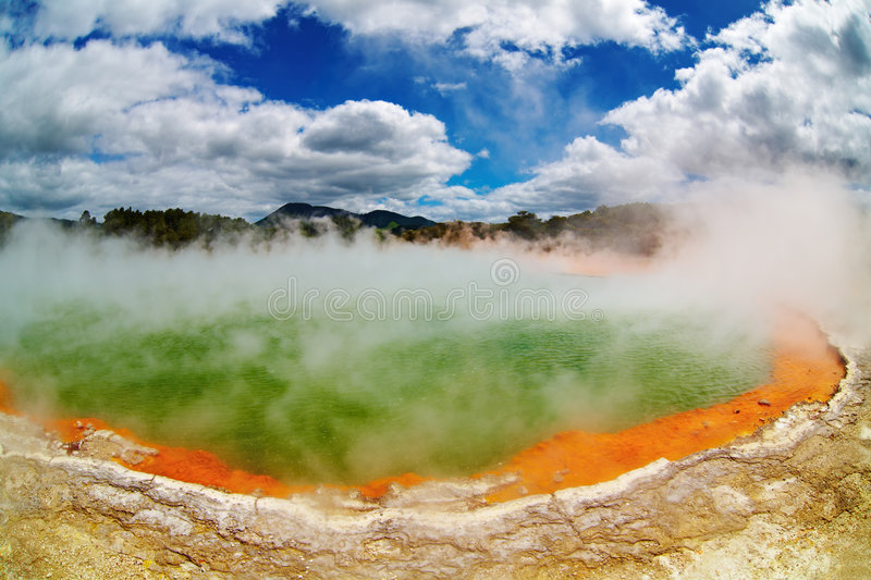Hot thermal spring, New Zealand royalty free stock photography