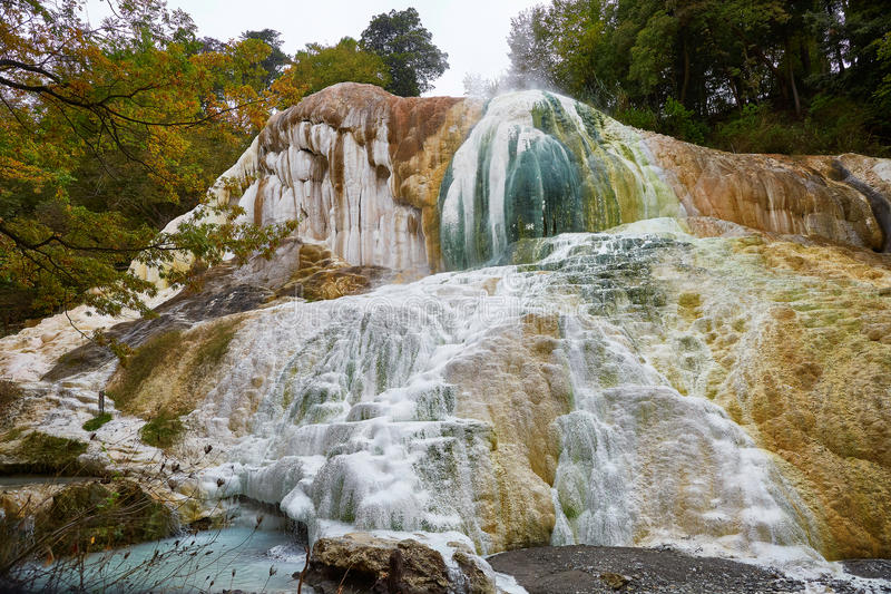 Hot thermal springs of Bagni San Filipo in Tuscany, Italy stock photography