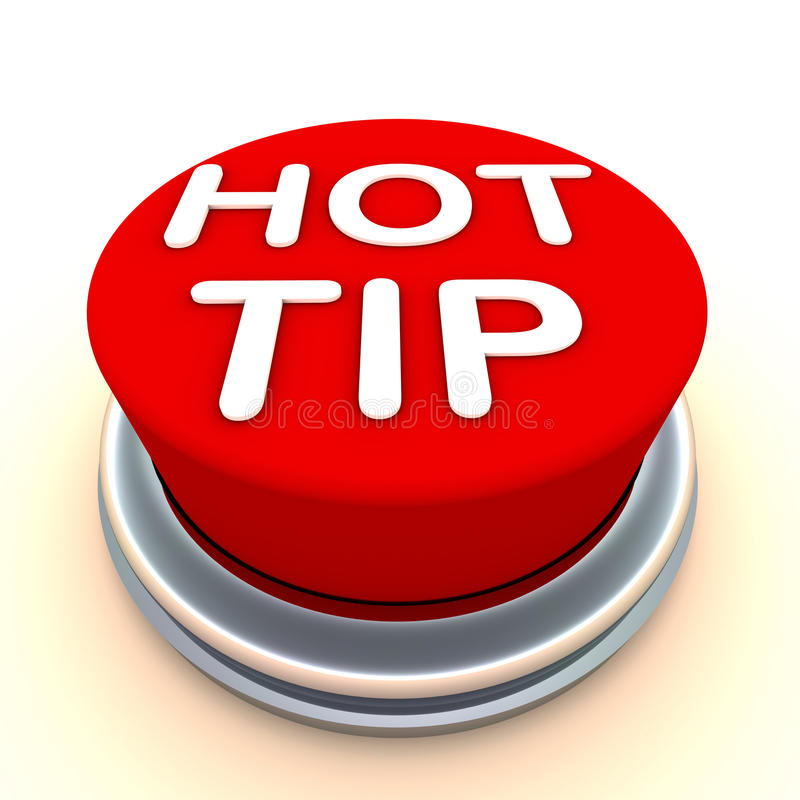 Hot tip. Important and hot tip, concept with button in red writted with words hot tip royalty free illustration