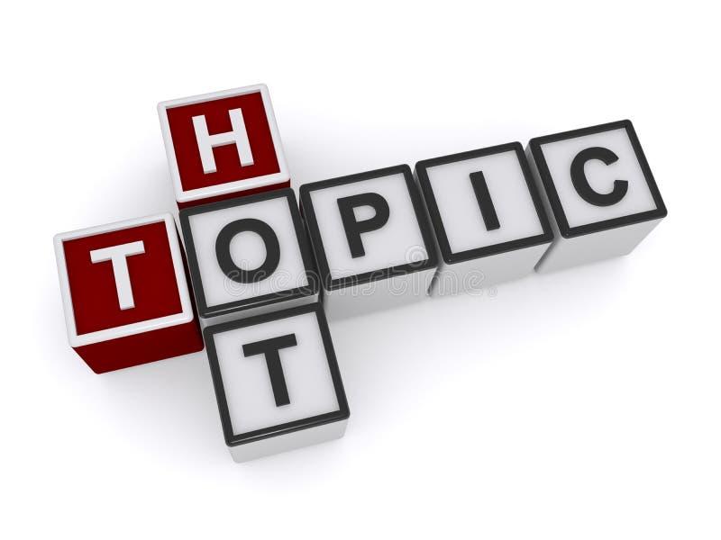 Hot topic heading. Hot topic crossword heading on white background vector illustration