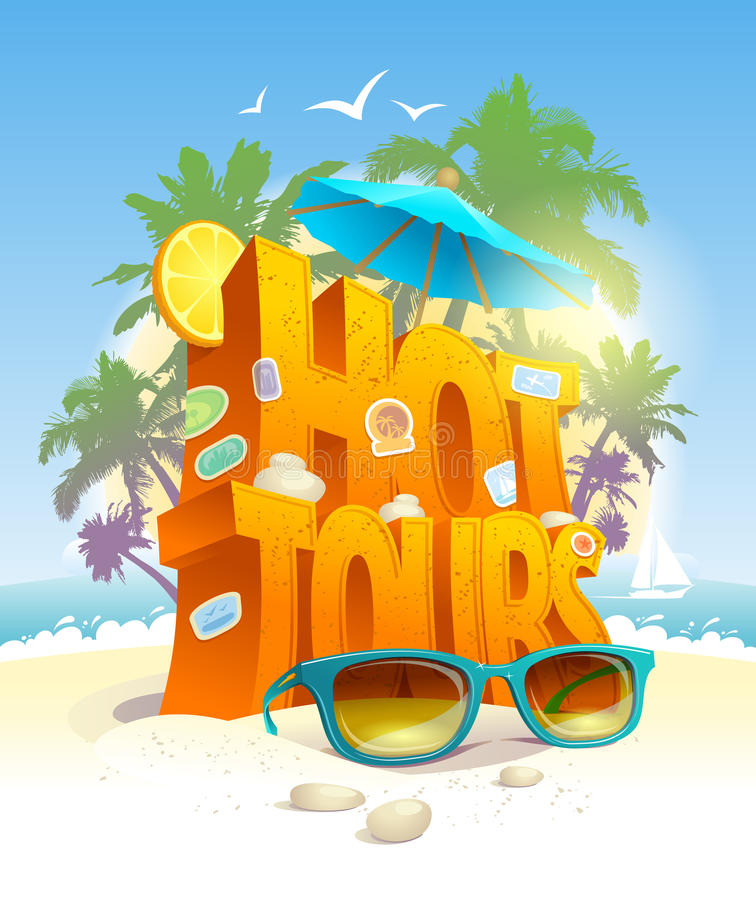 Hot tours vector poster, 3d text against tropical beach and palms vector illustration