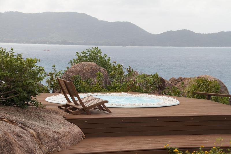 Hot tub with a view stock photo