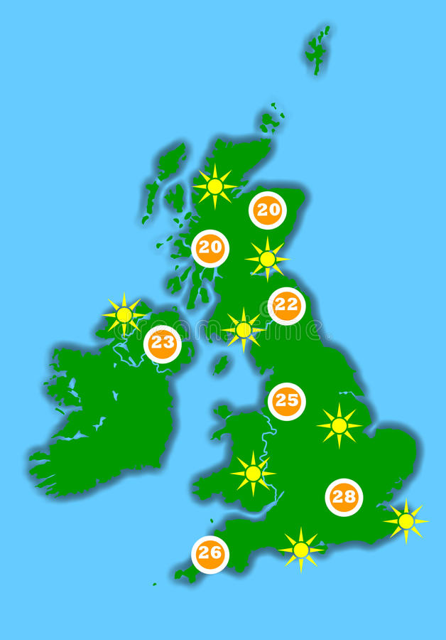Hot UK weather map vector illustration