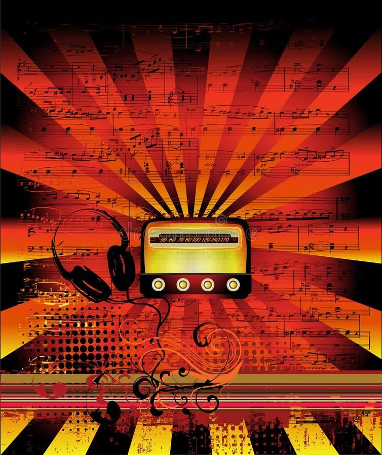 Hot vintage radio. Old radio on grunge background with rays royalty free illustration