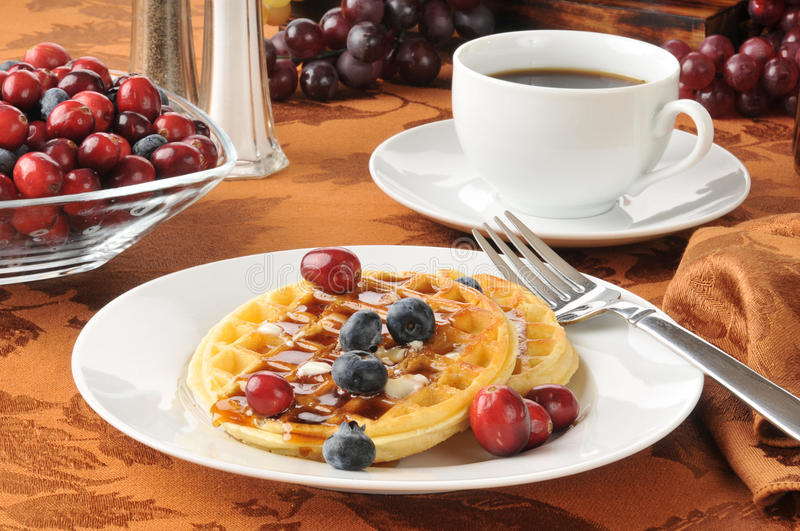 Hot Waffles With Berries Royalty Free Stock Image