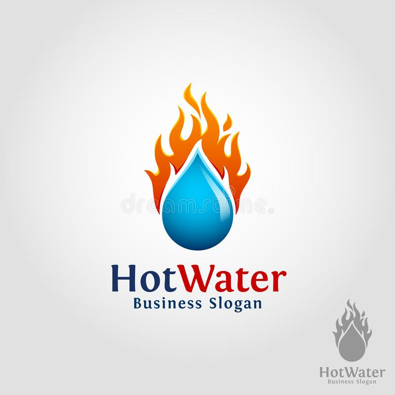 Hot Water - Burning Water Drop Logo.  vector illustration
