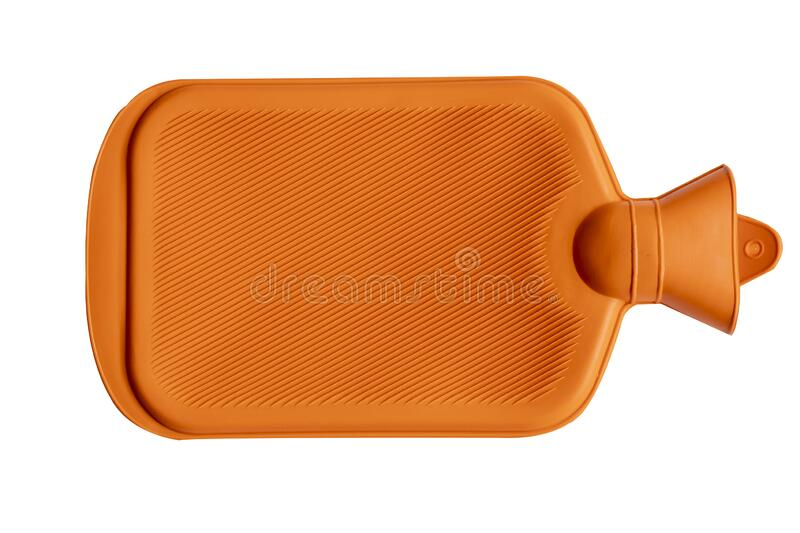 Close up of hot water container for illness equipment. Close up of rubber hot water container equipment for domestic treatment of illness in orange color stock photography