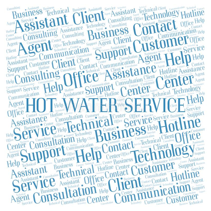 Hot Water Service word cloud. Wordcloud made with text only royalty free stock photo