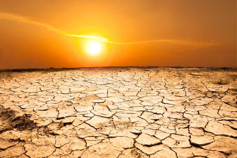 Hot weather. Drought land and hot weather stock image