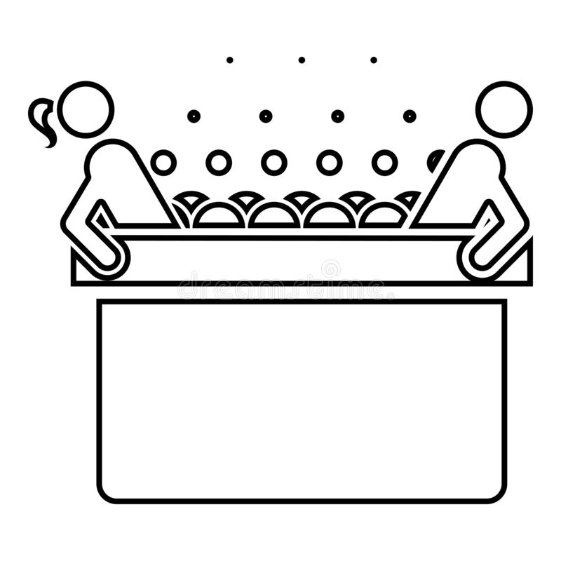 Hot whirlpool with woman and man Spa Bathtub with foam bubbles Bath Relax bathroom Bath spa icon black color outline vector stock illustration