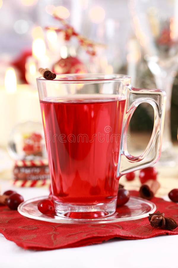 Hot wine cranberry punch stock images