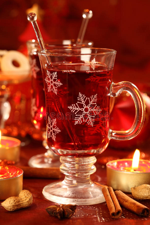Hot wine punch stock photo