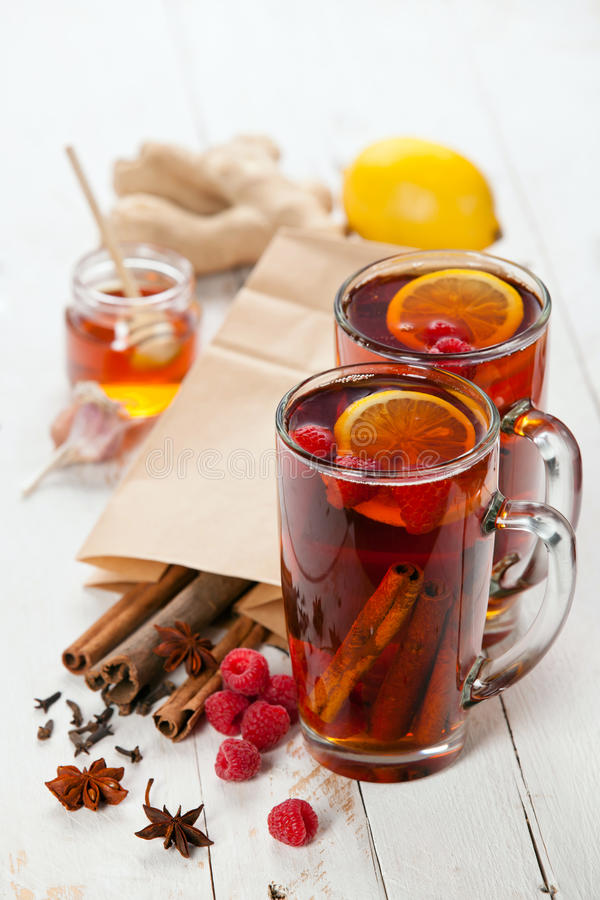 Hot winter raspberry tea stock image