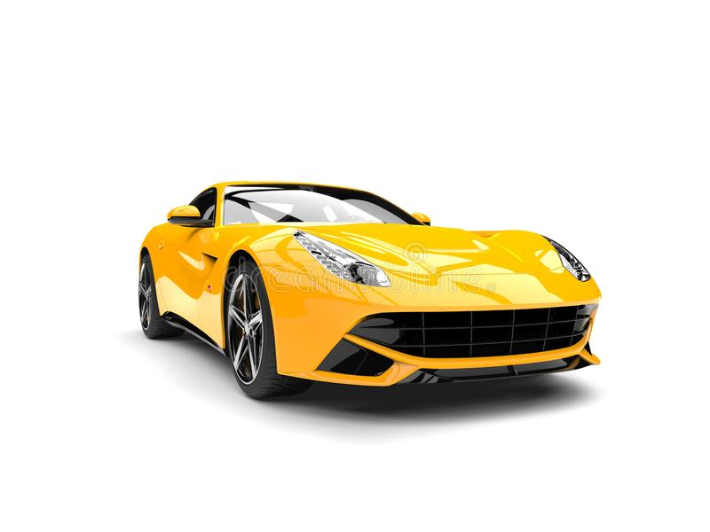 Hot yellow modern concept car - front closeup shot. Isolated on white background royalty free illustration