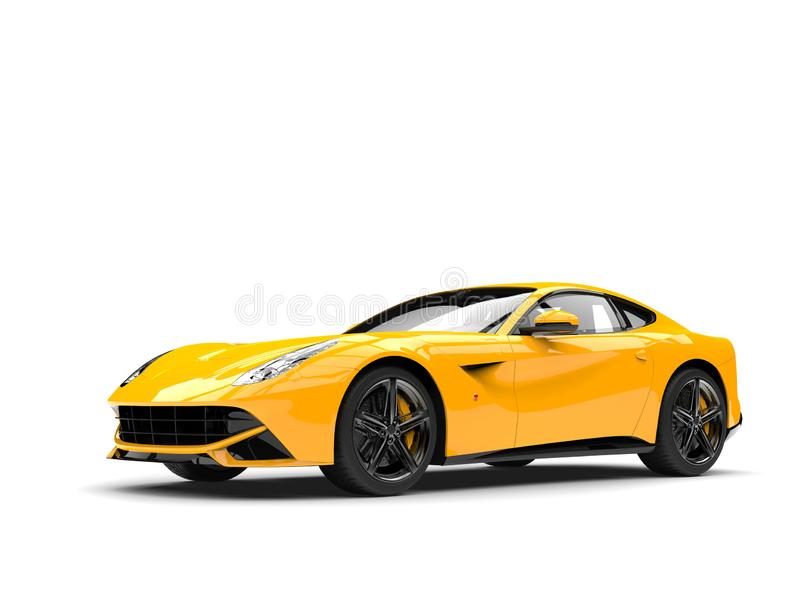 Hot yellow modern concept car. Isolated on white background royalty free illustration