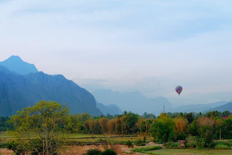 Hotair balloon on the sky. At Vang vieng, Laos royalty free stock photos