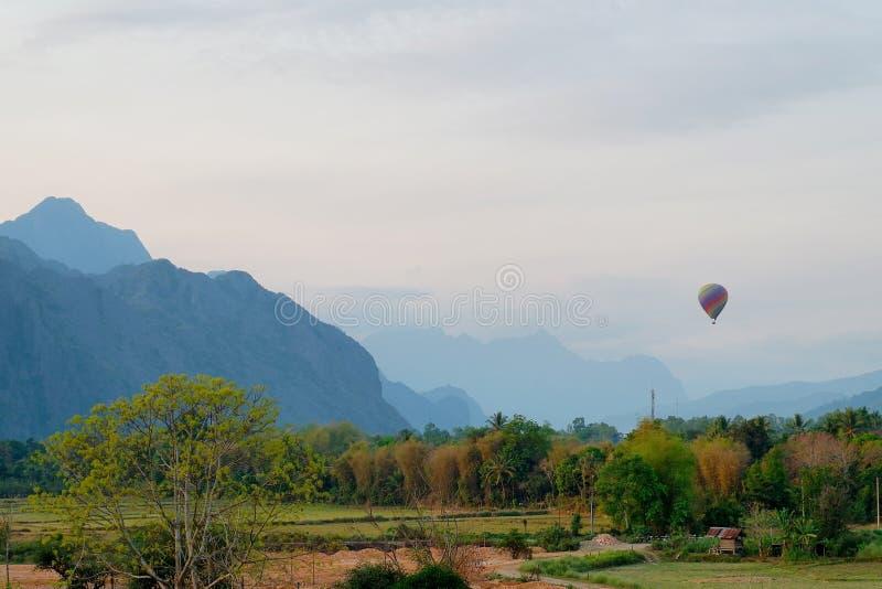Hotair balloon on the sky. At Vang vieng, Laos stock photography