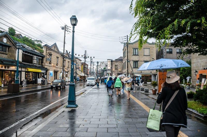 Rainy Day in Otaru Town, Hokkaido Japan royalty free stock images