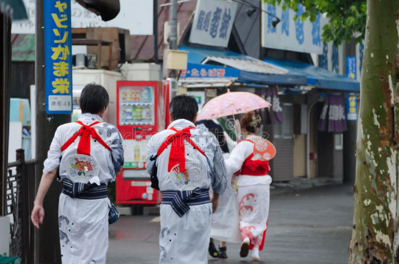 Japanese People in Yukata Dress stock photos