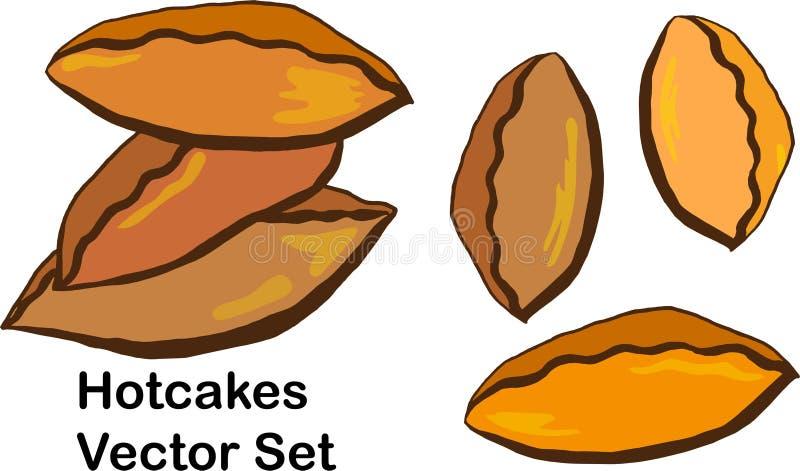 Hotcakes wektor Ustawia - kreskówki ilustrację kulebiaki, tradycyjny ciasto royalty ilustracja