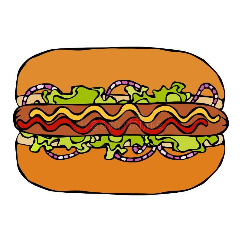 Hotdog Babeczka, kiełbasa, ketchup, musztarda, Sałatkowi urlopów ziele, Czerwona cebula Fast food kolekcja Ręka Rysujący Wysokiej ilustracji