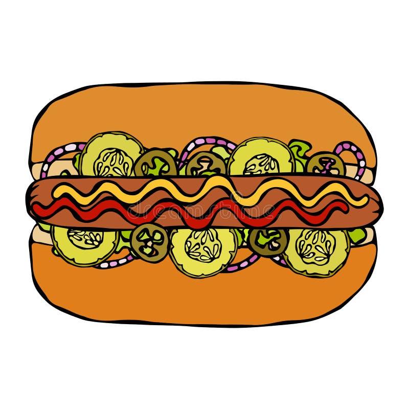 Hotdog Babeczka, kiełbasa, ketchup, musztarda, Sałatkowi urlopów ziele, Czerwona cebula, Jalapeno pieprz, zalewy, ogórek Fast foo ilustracji
