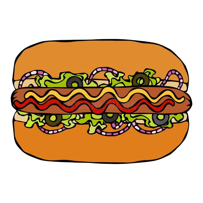 Hotdog Babeczka, kiełbasa, ketchup, musztarda, Sałatkowi urlopów ziele, Czerwona cebula, oliwki Fast food kolekcja Ręka Rysujący  ilustracja wektor
