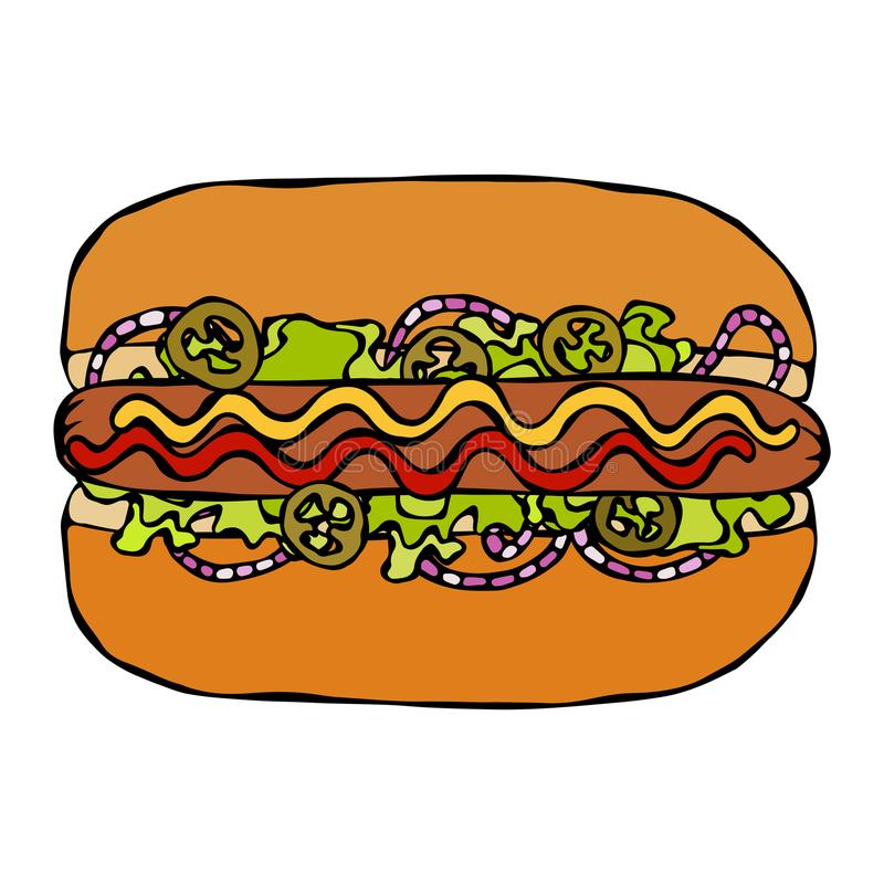 Hotdog Bulle korv, ketchup, senap, salladtjänstledighetörter, röd lök, Jalapenopeppar Snabbmatsamling tecknad hand royaltyfri illustrationer