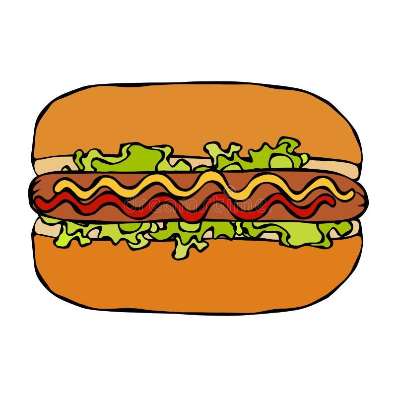 Hotdog Bulle korv, ketchup, senap, salladtjänstledighetörter Snabbmatsamling Hand dragen högkvalitativ spårad vektor stock illustrationer
