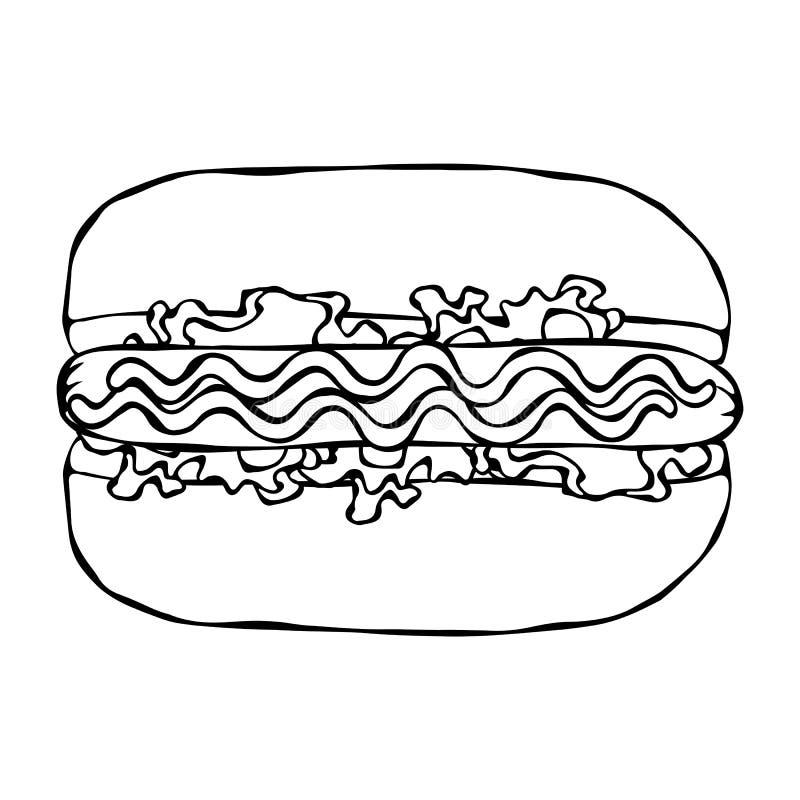 Hotdog Bulle korv, ketchup, senap, salladtjänstledighetörter Snabbmatsamling Hand dragen högkvalitativ spårad vektor Illustratio royaltyfri illustrationer