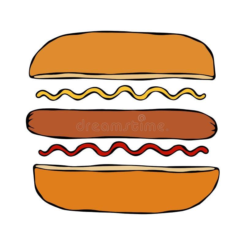 Hotdog Bulle korv, ketchup, senap Snabbmatsamling Hand dragen högkvalitativ spårad vektorillustration klotter vektor illustrationer