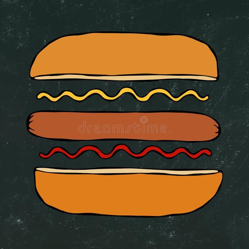 Hotdog Bulle korv, ketchup, senap Snabbmatsamling Hand dragen högkvalitativ spårad vektorillustration Klottra stil Bl royaltyfri illustrationer