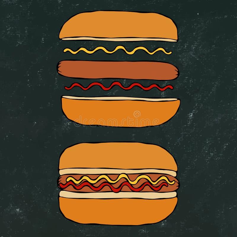 Hotdog Bulle korv, ketchup, senap Snabbmatsamling Hand dragen högkvalitativ spårad vektorillustration Klottra stil Bl stock illustrationer